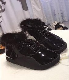 Wholesale Free Stylish Heel - High-end design of a mink fur patent leather boots.Warm and stylish atmosphere,New Year's best gift free shipping