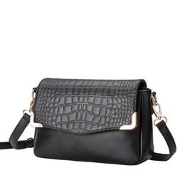 Wholesale women crocodile shoulder bag - Top Quality fashion Lady's Quilted Import Crocodile grain Leather Handbag Vintage quilted Messenger Shoulder Bag Free Shipping