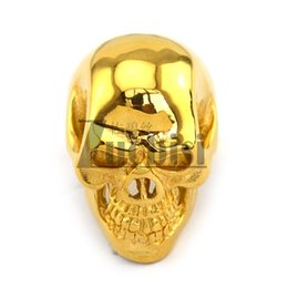Wholesale Unique Steel Gifts - New! Unique Gold Plated Skull Men's Ring, Cool Punk Fashion Skull 316L Stainless Steel Ring,