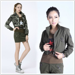 Wholesale Ladies Military Style Jackets - US Flag Embroidery Military Style Bomber Jackets Ladies Quality Slim Fit Camo Printing Cargo Coats Free Shipping