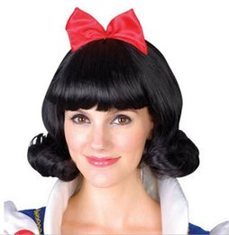 Wholesale Sexy Costumes Hair - Wholesale-Black Short Hair For Games Free Shipping New Style Cosplay Anime Snow White Wigs Women Sexy Cosplay Wigs 3SH044
