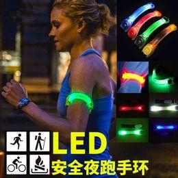 Wholesale Fluorescent Hand Lamp - Fluorescent night running LED running lights night luminous hand ring foot ring reflective armband safety warning lamp light