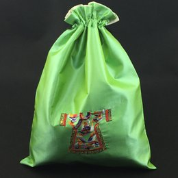 Wholesale Chinese Sachet - Unique Portable Craft Satin Shoe Bag Travel Storage Protective Cover Chinese Embroidered Drawstring Dust Bags Gift Packaging Bags 25x35 cm