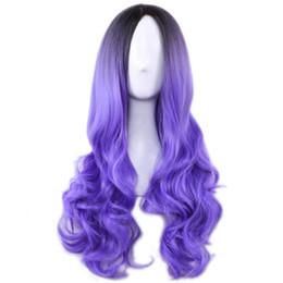 Longue Pas Cher Perruque Cospaly Harajuku Lolita Perruque Noir Ombre Pourpre Corps Vague Synthétique Mélange De Cheveux Couleur Perruques pour Femmes ? partir de fabricateur