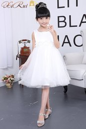 Wholesale Wholesale First Communion - EMS DHL Free Wedding Party Formal Flower Girls Dress Sleeveless Children Baby First Communion Pageant Dresses with Bow