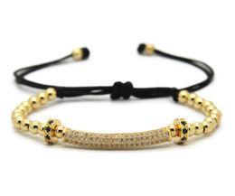 Wholesale macrame charms - 2016 New Design Jewelry Wholesale 4mm 18kt Round Beads with Cubic Zirconia Tube Braided Macrame CZ Bracelets