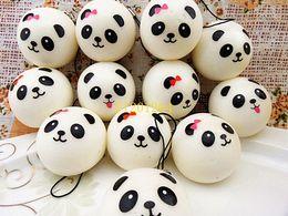 Wholesale Panda Jumbo Bun - 500pcs lot Free Shipping 4cm Jumbo Panda Squishy Charms Kawaii Buns Bread Cell Phone Key Bag Strap Pendant Squishes lanyard