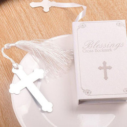 Wholesale Silver Bookmarks Wholesale - Blessings Silver Cross Bookmark with Tassel Wedding Baby Shower Baptism Party Favors Gifts Free Shipping ZA4414