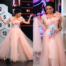 Wholesale Floor Carpet Squares - Haifa Wehbe Celebrity Dresses 2016 Pink Evening Dresses with Square Neckline Shine Belt Sweety Dubai Party Gowns