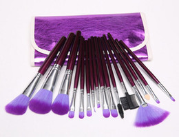 Wholesale pro make up - 16PCS Purple Makeup Brushes Pro Cosmetic GOAT Hair Make Up Brushes Kit with Leather Case Bag BB Cream Face Powder Beauty Makeup Tools