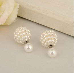 Wholesale Rose Pearl Clip - Elegant Rose Aros Double Pearl Earrings jewelry Clip Multi-Color Ear Cartilage Statement Stud Earrings For women E1499