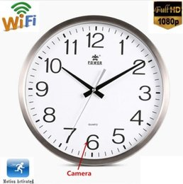 Wholesale Clock Wall Spy Hidden Cameras - New Wifi 1080P HD Spy Hidden Wall Clock Camera Motion Detection Nanny Record Cam Home Security Mini Cameras