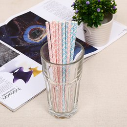 Wholesale Striped Straws Blue Free Shipping - Pink Blue striped mixed Paper drinking Straws kids birthday wedding decorative party decoration event supplies DHL Free Shipping
