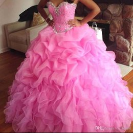 Wholesale Ball Gown Fuschia - 2016 Crystals Beaded Ball Gown Quinceanera Dresses With Lace Up Organza Fuschia Girl Sweet 16 Dresses Formal Party Gowns For Women Hot Sale