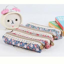 Wholesale Flower Pencil Cases - Wholesale-fashion Flower Lace Floral Zipper Pen Pencil Bag Case Cosmetic Bag women makeup bag jewelry organizer 3 colors