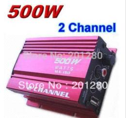 Wholesale Digital Audio Car Amp - Digital Audio Sound Subwoofer Power Amplifier 500W 2 Channel Mini Hi-Fi Stereo Amplifier MP3 Amp Car Motorcycle amplificador