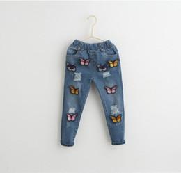 Wholesale Korean Kids Girl Jeans - Girls Jeans Kids Pants Butterfly Jeans Korean Girl Dress Denim Trouser 2016 Spring Tapered Jeans Children Clothes Kids Clothing K7758