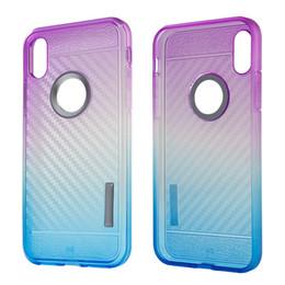 Wholesale Max Edition - Double Color Gradient Carbon Fiber Armor Case For ZTE Blade Z Max Z982 Metropcs TPU Edition Cell Phone Case Galaxy S8 Plus