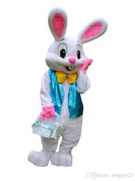 Wholesale Professional White Dresses - PROFESSIONAL EASTER BUNNY MASCOT COSTUME Bugs Rabbit Hare Adult Fancy Dress Cartoon Suit