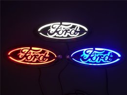 Emblema led azul on-line-Para Ford FOCUS 2 3 MONDEO Kuga Novo 5D Auto logotipo Badge Lamp Especial logotipo do carro modificado LED light 14.5 cm * 5.6 cm Azul / Vermelho / Branco