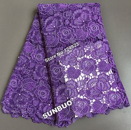 Wholesale Heavy Sewing - big heavy 5 yards purple African Guipure Lace cuipon cord lace fabric African garden sewing fabric 4013 High Quality