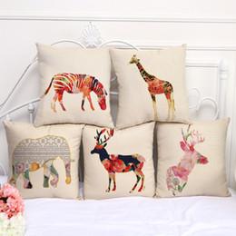Wholesale Wholesale Ostrich Pillows - Grassland animal giraffe zebra ostrich pillow Case Cushion cover Pillowcase Cover Square linen cotton soft pillowslip beddng sets 240580