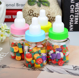 Wholesale Erasers Bottle - Wholesale-R11 Cute Kawaii Milk Bottle Design Mini Fruit Rubber Eraser Correction School Prizes Promotional Kids Gift Student Stationery