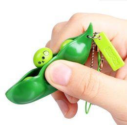 Wholesale Edamame Keychain - Funny Beans Toys Creative Extrusion Cute Pea Bean Soybean Edamame Stress Relieve Keychain Toy Keyring Car Pendant