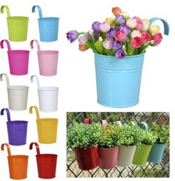 Wholesale Metal Wall Flower Planters - Adorable 9 Colors Hanging Metal Iron Flower Pot With Flowers Herbs Or Plants For Balcony Garden Planter Home Decoration E498E