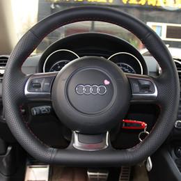 Чехол для Audi TT рулевое колесо охватывает натуральная кожа DIY ручной стежка рулевого крышки черная кожа стайлинга автомобилей supplier leather steering wheel cover hand от Поставщики руль с кожаной обивкой