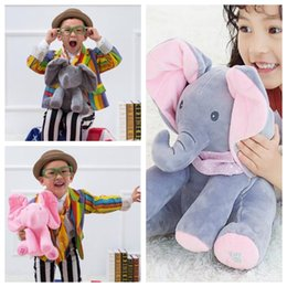 Wholesale Singing Plush Toys Wholesale - 3 Colors 30cm Plush Elephant Doll Peek A Boo Hide Seek Elephant Toy Sing Music Toys Ears Flaping Move Party Favor CCA7770 30pcs