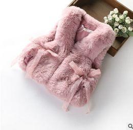 Wholesale Fur Shawl Vest - Girls waistcoat faux fox fur vest warm vests shawl coat children hollow BOWS cape outwear big kids clothing winter children outwear T0499