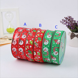 Wholesale Tie Grosgrain - Ribbon 2.5cm wide Christmas snowman cute cartoon printed grosgrain ribbon 50yards roll for headband hair tie gift packaging ribbon B001