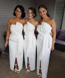 Wholesale Mermaid Bridesmaid Dresses For Wedding - Modest White Cheap Bridesmaid Dresses Long for Wedding Guest Dress Front Split Ruffles Satin Plus Size Boho Beach Party Gowns Maid of Honor
