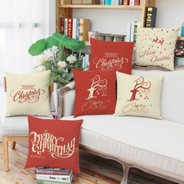 Wholesale Linen Yarn Wholesale - Christmas Reindeer Cushion Cover Happy New Year Pillow Cover Christmas Reindeers Pillow Case Home Decor Pillowcases