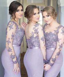 Wholesale Vestidos Color Melon - New Arrival Vestidos de madrinha 2016 Purple Mermaid Bridesmaid Dress O-Neck Sheer Long Sleeve Appliques Bridesmaid dresses long