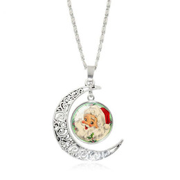 Wholesale Necklace Half Moon - XS Santa Claus Moon Time Gemstone Silver Plated Half Pendant Necklace Christmas Jewelry Wholesale