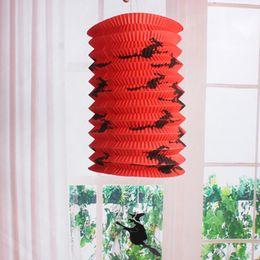 Wholesale Decorative Pipe - New 50pcs Halloween Telescopic straight pipe organ lamp 4 color bat witch design paper lantern