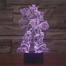 Wholesale Livraison Gratuite Multi Couleur Changement De Transformateurs Acrylique D LED Veilleuse USB LED Décoratif Lampe De Table Éclairage De Bureau