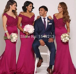 Wholesale Sexy Silk Wedding Dresses - Hot Pink Off the Shoulder Mermaid Long Bridesmaid Dresses 2018 New Arabic Lace Top Sexy Low Back Maid Of Honor Wedding Party Wear