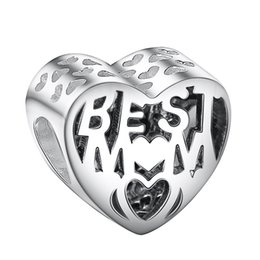 Wholesale openwork jewelry - Wholesale Openwork Heart Best Mom Charm 925 Sterling Silver European Charms Bead Fit Snake Chain Bracelets Fashion DIY Jewelry