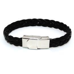 Wholesale Pu Leather Braided Bracelet - 21CM PU Twist Leather Black Color Men Braided Custom Wrap Bracelet for Christmas Present Diy WO16