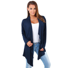 Wholesale Womens Long Length Loose Tops - Wholesale- 2016 Womens Fashion Irregular Outwear Long Sleeve Cardigan Casual Loose Coat Tops Casual Thin Female Outwear Free Shipping