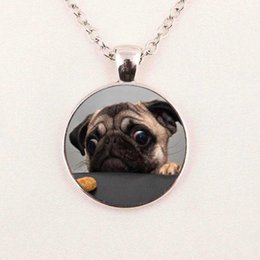 Wholesale Picture Christmas - Wholesale Glass Dome Pendant Animals Jewelry Pug Necklace Pendant Glass Art Picture Necklace