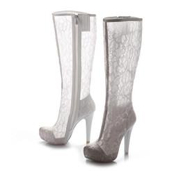 Wholesale Lace Wedding Shoes For Bride - Elegant White Lace Wedding Shoes Bridal Boots In Stock Black Lace Boots For Brides Platform High Heels Bridal Accessories Bridal Shoes White