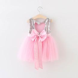 Wholesale Grey Girl Dresses - 2016 Summer New Girl Dresses Bow Silver Sequins Grey Gauze Sundress Children Princess Dress 2-7T 16885