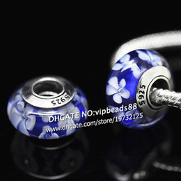 Wholesale Glass Jewelry Beads Fits Necklace - S925 Sterling Silver jewelry Blue and white flowers Murano Glass Beads Fit European DIY pandora Charm Bracelets & Necklace 131