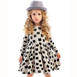 Wholesale Leopard Print Tight Dress - Girls New Dress Children's Wear Black Cat Pattern Printing Elastic Tight Skirt