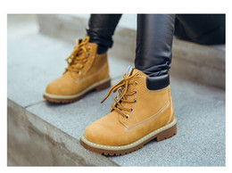 Wholesale Children Cowboy Boots - Wholesale High top cow leather lacing shoe big boy girl's winter snow boots kids ankle martin boots,women children cowboy hunting boot,26-37