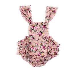 2019 vestidos marrones monos Chicas sin espalda floral Romper listo para enviar al por menor Bebé Bubble Romper Rustic Flutter manga Boho Baby Clothes recién nacido Sunsuit